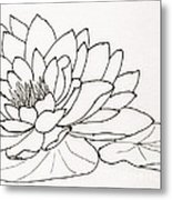 Water Lily Line Drawing Metal Print