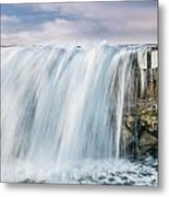 Water Over The Jetty Metal Print