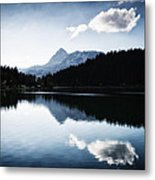 Water Reflection Blue Black And White Metal Print