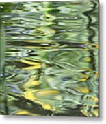 Water Reflection Green And Yellow Metal Print by Dan Sproul