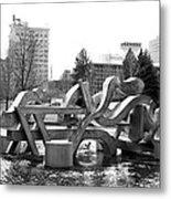 Water Sculpture In Spokane Metal Print