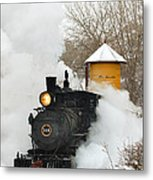 Water Tower Behind The Steam Metal Print by Ken Smith