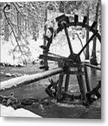 Water Wheel In Snow Metal Print