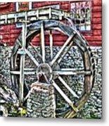Water Wheel On Mill V2 Metal Print