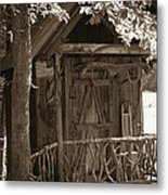 Water Wheel Shed I Sepia Metal Print