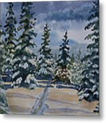 Original Watercolor - Colorado Winter Pines Metal Print