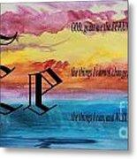 Watercolor E And Serenity Prayer Metal Print