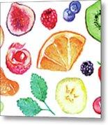 Watercolor Exotic Fruit Berry Slice Set Metal Print