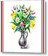 Watercolor Flowers Bouquet In Metal Pitcher Impressionism Metal Print