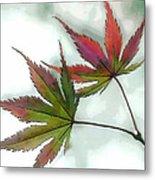 Watercolor Japanese Maple Leaves Metal Print