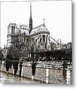 Watercolor Notre Dame Metal Print