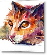 Watercolor Orange Tubby Cat Metal Print