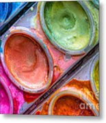 Watercolor Ovals One Metal Print
