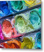 Watercolor Ovals Two Metal Print