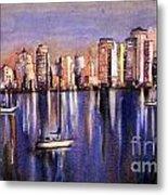 Watercolor Painting Of Vancouver Skyline Metal Print
