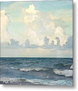 Watercolor Photograph Of Atlantic Ocean Metal Print