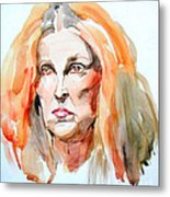Watercolor Portrait Of A Mad Redhead Metal Print