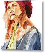Watercolor Portrait Of An Old Lady Metal Print