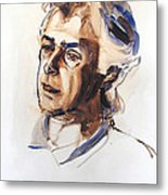 Watercolor Portrait Sketch Of A Man In Monochrome Metal Print