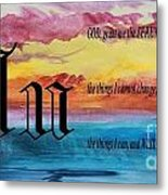 Watercolor U And Serenity Prayer Metal Print