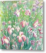 Watercolour Of Pink Iris's In A Green Field Metal Print