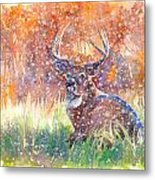 Watercolour Painting Of A Stag In The Snow Metal Print