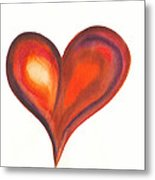 Watercolour Painting Of Colorful Abstract Heart Metal Print