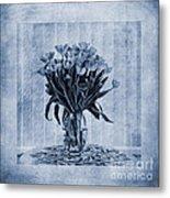 Watercolour Tulips In Blue Metal Print by John Edwards