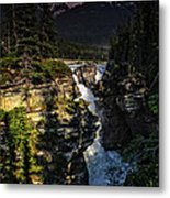 Waterfall And Mountain In Jasper Metal Print