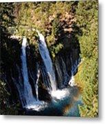 Waterfall And Rainbow Metal Print