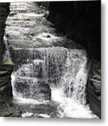 Waterfall And Rocks Metal Print