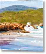 Waterfall Beach Denmark Painting Metal Print