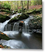 Waterfall In Autumn Woods Metal Print
