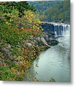 Waterfall In Forest, Cumberland Falls Metal Print