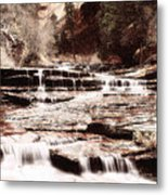 Waterfall In Sepia Metal Print