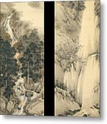 Waterfall In Spring And Autumn Metal Print