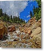 Waterfall In The Rockies Metal Print