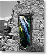 Waterfall Through The Magic Door Metal Print