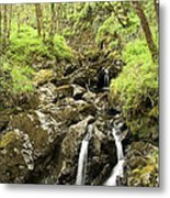 Waterfall Through Woodland Metal Print