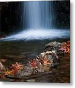 Waterfall And Leaves In Autumn Metal Print