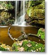 Waterfall With Autumn Leaves Metal Print