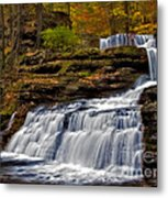 Waterfalls In The Fall Metal Print by Susan Candelario