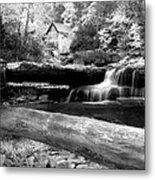 Waterfalls Mill Black N White Metal Print