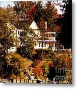 Waterfront Home In Fall Metal Print