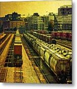 Waterfront Rail Yard Metal Print