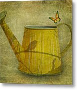 Watering Can With Texture Metal Print
