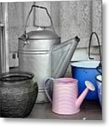 Watering Cans And Buckets Metal Print