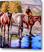 Watering The Horses Metal Print