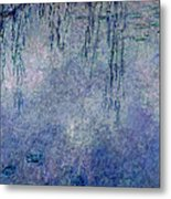 Waterlilies Two Weeping Willows Metal Print