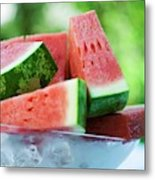Watermelon Wedges In A Bowl Of Ice Cubes Metal Print